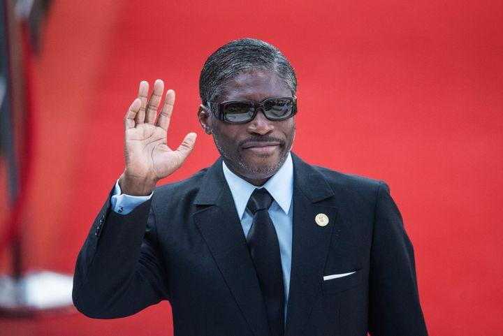 Théodorin Obiang est actuellement vice-président de la Guinée équatoriale, aux côtés de son père. La succession semble déjà assurée, alors que son père s'est autoproclamé président à vie. (MICHELE SPATARI / AFP)