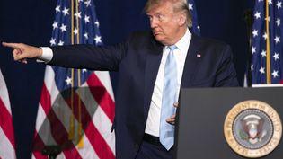 Le président américain Donald Trump lors d'un discours, le 3 janvier 2019, à Miami en Floride. (ANADOLU AGENCY / AFP)
