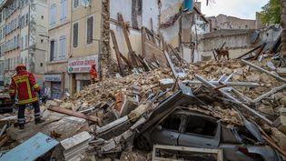 L'un des immeubles qui s'est effondré à Marseille (Bouches-du-Rhône), le 5 novembre 2018. (AFP PHOTO / BMPM / SM / LOIC AEDO)