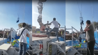 Captures d'écrans d'une vidéo montrant l'incident survenu à la Foire du Trône de Paris, le 9 avril 2017. (YOUTUBE / FRANCEINFO)