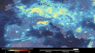 Le volume d'émissions de gaz à effet de serre a nettement diminué dans le nord de l'Italie depuis les mesures de confinement en raison du coronavirus. (ESA)