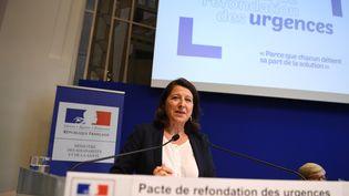 La ministre de la Santé Agnès Buzyn, lors de la présentation de son plan pour les urgences, à Paris, le 9 septembre 2019. (ERIC FEFERBERG / AFP)