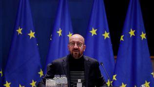 Charles Michel, le président du Conseil européen, à Bruxelles (Belgique), le 24 mars 2021. (STEPHANIE LECOCQ/POOL / ANADOLU AGENCY / AFP)