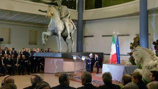 Le président iranien Hassan Rohani en compagnie du président du Conseil italien Matteo Renzi, lors d'une conférence de presse au Capitole de Rome (Italie), lundi 25 janvier 2016. (TIZIANA FABI / AFP)
