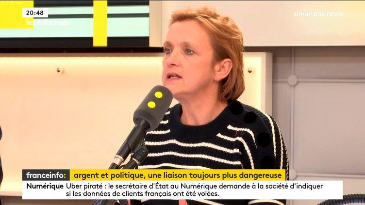 Laurence Berthout, maire LR du 5e arrondissement de Paris, présidente du groupe LR au Conseil de Paris, invitée de franceinfo, le 23 novembre 2017. (FRANCEINFO / RADIOFRANCE)