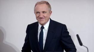 Francois-Henri Pinault, PDG du groupe de luxe Kering, le 12 février 2019, lors de la présentation des résulats de l'entreprise pour 2018, à son siègede Paris. Le milliardaire s'est engagé à donner 100 millions d'euros pour la reconstruction de Notre-Dame. (ERIC PIERMONT / AFP)
