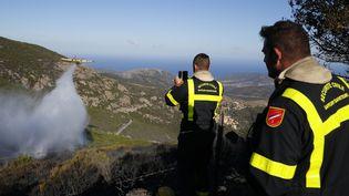 Les pompiers observent un Canadair, sur le front de l'incendie de Palasca, le 23 octobre 2017 en Haute-Corse. (PASCAL POCHARD-CASABIANCA / AFP)