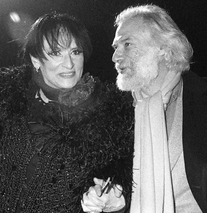 """Barbara etGeorges Moustaki lorsdu spectacle """"Lily Passion"""", le28 janvier 1986  (DSK / AFP)"""