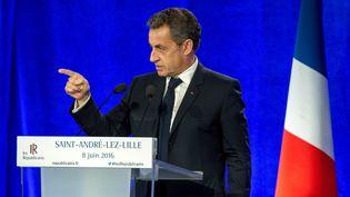 Nicolas Sarkozy, président des Républicains, à Saint-André-lez-Lille (Nord), le 8 juin 2016. (PHILIPPE HUGUEN / AFP)