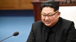Le dirigeant nord-coréen,Kim Jong-un, s'exprime depuis Panmunjom (Corée du Sud) le 27 avril 2018. (INTER KOREAN PRESS CORP / NURPHOTO / AFP)