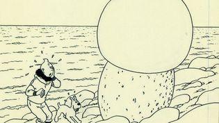 """Dessin de couverture de l'album de Tintin """"L'Etoile mystérieuse""""  (DR)"""