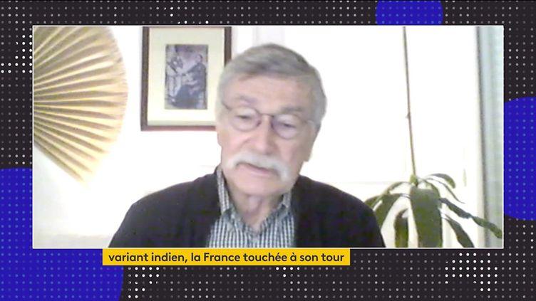 Yves Buisson, épidémiologiste et membre de l'Académie nationale de médecine, était l'invité du journal de 23 Heures de franceinfo, vendredi 30 avril. Il a fait le point sur le variant indien. (FRANCEINFO)