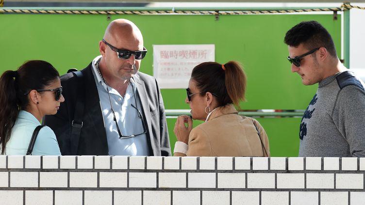 La famille de Jules Bianchi, avec son père, Philippe, au centre (TORU YAMANAKA / AFP)