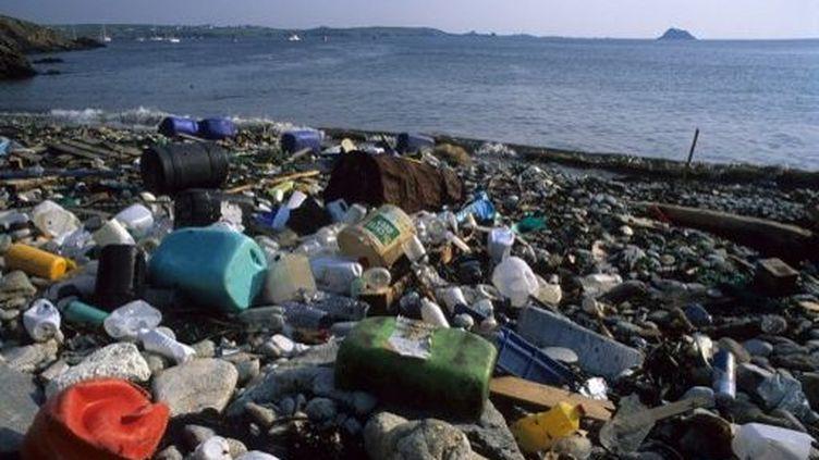 Déchets rejetés par la mer sur l'île d'Ouessant. (Biosphoto / Christian-Georges Quillivic)