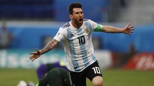 Lionel Messi a ouvert le score face au Nigeria, dans le dernier match du groupe D de la Coupe du monde, le 26 juin 2018. (JAVIER GARCIA MARTINO / PHOTOSPORT)