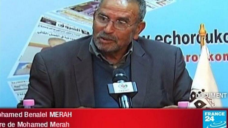 Mohamed Benalel Merah, lepère de Mohamed Merah, le tueur de sept personnes à Toulouse et Montauban en mars 2012, lors d'une émission sur la chaîne France 24, le 27 mars 2012. (FRANCE 24 / AFP)