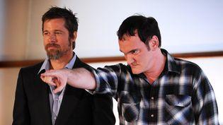 """Brad PittetQuentin Tarantino lors de laprésentation du film """"Inglourious Basterds"""", le 18 septembre 2009, au festival de San Sebastian en Espagne. (RAFA RIVAS / AFP)"""