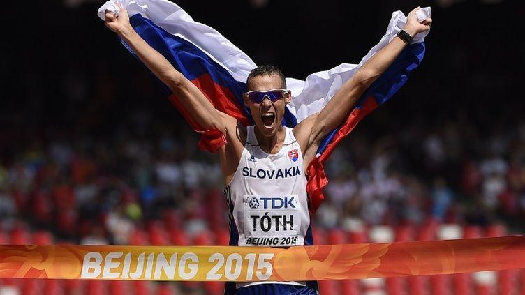 Le Slovaque Matej Toth, vainqueur du 50km marche (OLIVIER MORIN / AFP)
