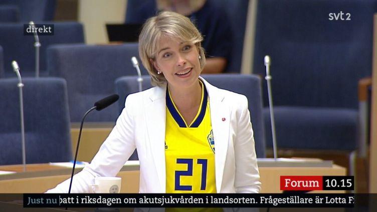 Laministre des Affaires sociales et de la Santé, Annika Strandhäll, le 27 juin 2018 au Parlement suédois. (SVT2)