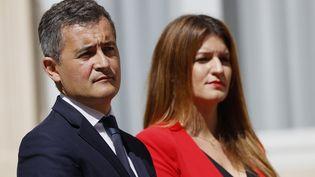 Le ministre de l'Intérieur Gérald Darmanin et la ministre déléguée à la Citoyenneté, Marlène Schiappa, le 7 juillet 2020 à Paris. (THOMAS SAMSON / AFP)