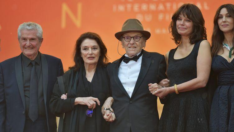 Claude Lelouch, Anouk Aimée et Jean-Louis Trintignant à Cannes le 18 mai 2019 (FRANCK CASTEL / MAXPPP)