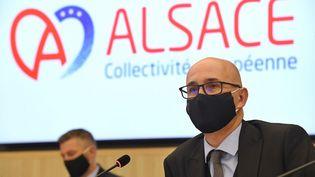 Frédéric Bierry,ex-président du conseil départemental du Bas-Rhin, a été élu président de la Collectivité européenne d'Alsace le 2 janvier 2021. (SEBASTIEN BOZON / AFP)