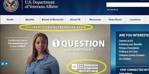 Page d'accueil du site du ministère américain des Anciens combattants. Outre un numéro auquel n'importe quel vétéran peut appeler en cas d'urgence, on peut y lire que septembre est décrété «mois de prévention du suicide». (Saisie d'écran du site du ministère américain des vétérans )