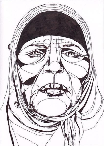 Portrait de Manoubia Bouazizi, mère du vendeur ambulant Mohammed Bouazizi qui s'est immolé le 17 décembre 2010. Un acte à l'origine des émeutes qui allaient conduire au déclenchement de la Révolution de Jasmin en Tunisie.  (Mahn Kloix)