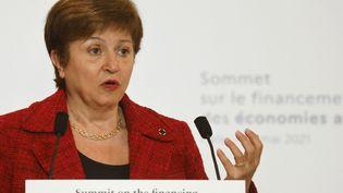 La directrice générale du FMI,Kristalina Georgieva, le 18 mai 2021 à Paris. (LUDOVIC MARIN / AFP)