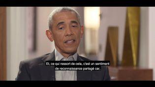 L'ancien président américain, Barack Obama, lorsd'un entretien à France 2, le 17 novembre 2020. (FRANCE 2 / FRANCEINFO)