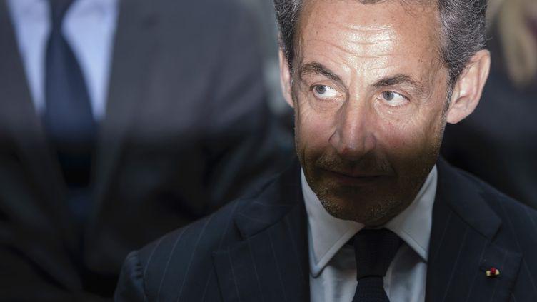 L'ancien président français Nicolas Sarkozy, le 28 février 2014, à Berlin (Allemagne). (CLEMENS BILAN / AFP)