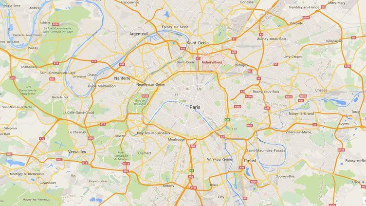 Capture d'écran de Google Maps pointant Aubervilliers (Seine-Saint-Denis). (GOOGLE MAPS)