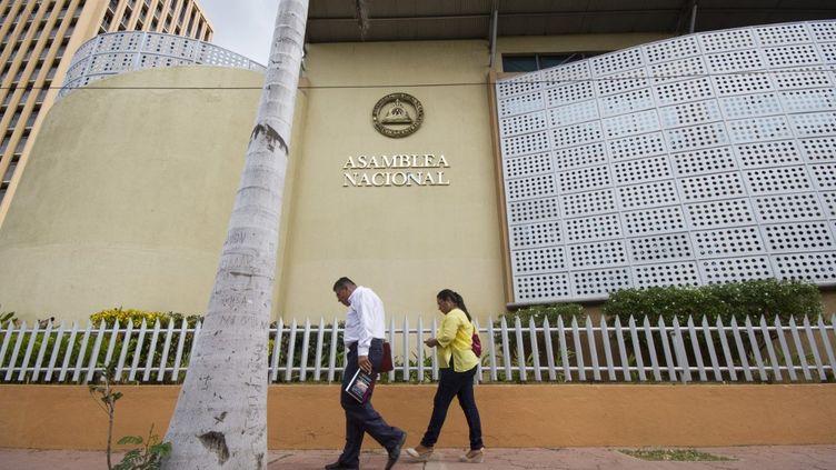 Photo de la façade de l'Assemblée nationale à Managua (Nicaragua) prise le 29 juillet 2016. (STR / AFP)