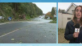 La tempête Aurore, qui a frappé la France dans la nuit du mercredi 20 au jeudi 21 octobre, a laissé d'immenses dégâts sur la moitié nord de la France, entre coupures d'électricité et trafic ferroviaire perturbé. Alexandra Lay, journaliste France Télévisions, est à Octeville (Seine-Maritime), pour faire un bilan sur la situation. (CAPTURE ECRAN FRANCE 3)