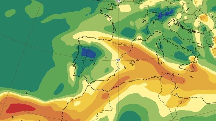 Uneprévision du déplacement des émanations de dioxyde de souffre provenant du volcan Cumbre Vieja, en Espagne, réalisée le 22 septembre 2021. (COPERNICUS/ECMWF)