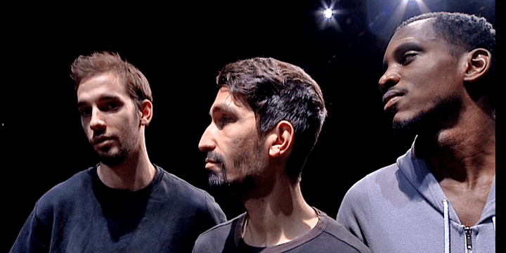 """Simon Dimouro,Ludovic Atchy-Dalama et Assan Beyeck-Rifoe les trois danseurs interprètes de """"L'étreinte, ce qui nous relie""""  (France 3 / Culturebox)"""