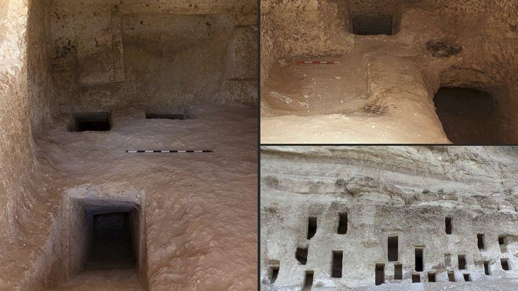Des tombes datant de 4 200 ans découvertes en Egypte, dans la province du Sohag (11 mai 2021) (EGYPTIAN MINISTRY OF ANTIQUITIES / AFP)