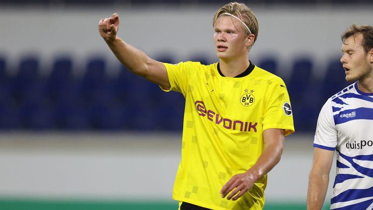 Erling Haaland vise le titre de meilleur buteur cette saison avec Dortmund (FIRO SPORTPHOTO/JV?RGEN FROMME / AUGENKLICK/FIRO SPORTPHOTO)