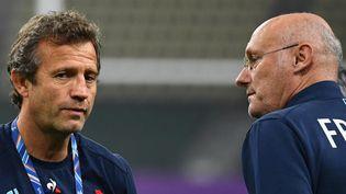Fabien Galthié et Bernard Laporte. (GABRIEL BOUYS / AFP)