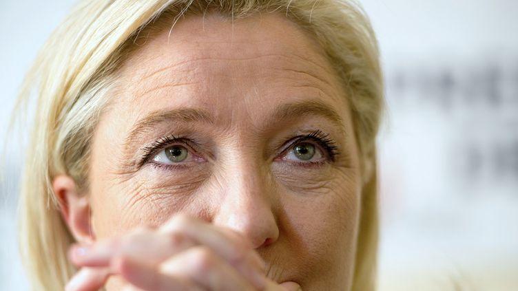 Marine Le Pen lors d'une conférence de presse, le 5 mars 2015, à Doullens (Somme). (PHILIPPE HUGUEN / AFP)
