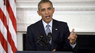 Le président américain Barack Obama lors d'une conférence de presse à Washington, le 2 octobre 2015. (OLIVIER DOULIERY / DPA / AFP)