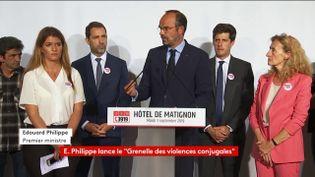 Edouard Philippe s'exprime en ouverture du Grenelle des violences conjugales, le 3 septembre 2019 à Matignon. (FRANCEINFO)