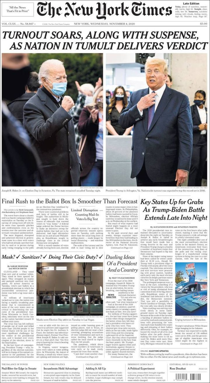 "Une du ""New York Times"", le 4 novembre 2020. (THE NEW YORK TIMES)"