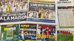 Les Unes de la presse française et espagnole au lendemain de la finale de la Ligue des nations, le lundi 11 octobre. (Franceinfo: sport)