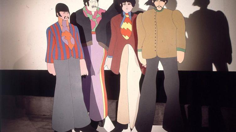 """Les personnages en carton de """"Yellow Submarine"""" censés figurer les Beatles, dans les studios d'animation TVC de Londres le 6 novembre 1967. (MARK AND COLLEEN HAYWARD / HULTON ARCHIVE / GETTY)"""
