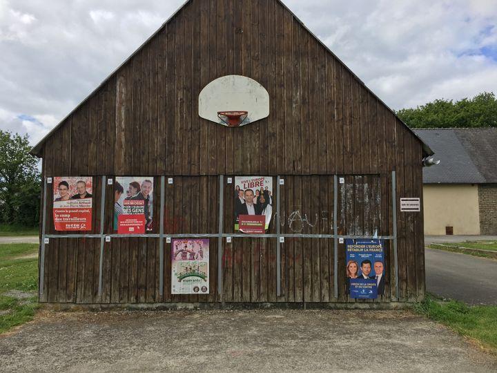 Des affiches de campagne pour les européennes à Trémargat (Côtes-d'Armor), le 28 mai 2019. (ELISE LAMBERT / FRANCEINFO)
