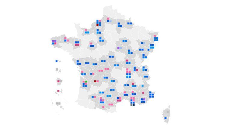 Carte des résultats des élections sénatoriales 2020, mise à jour à 23h. (FRANCEINFO)