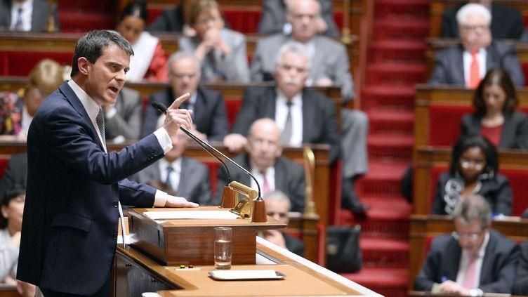 Manuel Valls devant les députés lors de son premier discours de politique générale, le 8 avril 2014, au Palais-Bourbon. (ERIC FEFERBERG / AFP)