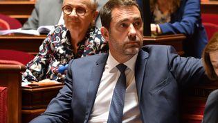 Le ministre de l'Intérieur Christophe Castaner sur les bancs du Sénat, lors des questions au gouvernement, le 16 mai 2019. (DANIEL PIER / AFP)