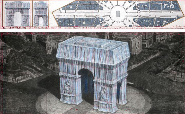Dessin de préparation de l'empaquetage de l'Arc de Triomphe réalisé par l'artiste bulgare Christo, le 3 avril 2019 (ANDRE GROSSMANN / CHRISTO AND JEANNE-CLAUDE - 2019)